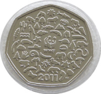 VERY RARE WWF 50p UNCIRCULATED FIFTY PENCE coin 2011 50th Anniversary Wildlife