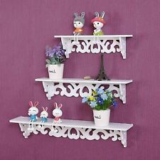 3Pcs White Wooden Wall Mounted Shelf Display Chic Floating Storage Shelves Unit