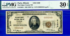 TOP POP CH# 2100 - 1929 $20 National (( Finest Known - Paris, IL )) PMG 30EPQ-