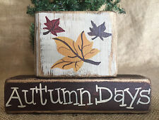 Primitive Country Fall Leaf Leaves Autumn Days 2 pc Shelf Sitter Wood Block Set