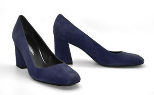 B5 NEW STUART WEITZMAN Navy Suede Round Toes Block Heels Pump Shoes Size 8.5 M