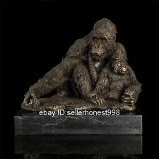 Signed Bronze Marble Statue King Kong orangutan Gorilla Art Deco Sculpture