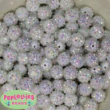 14mm White Rhinestone Resin Bubblegum Beads Lot 20 pc.chunky gumball