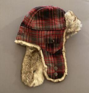 Woolrich Men's Bomber Trapper Red Plaid Hat Faux Fur Size Large