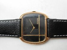ANTIQUE VINTAGE VERY RARE SWISS RADO BLACK SQUARE DIAL HAND WINDING GENTS WATCH