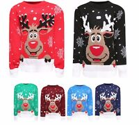 Kids Girls Boys Christmas XMAS Novelty Rudolph Bambi Knitted Jumpers 3-14 Years
