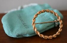 Vintage Tiffany & Co 14K Yellow Gold Open Circle Wreath Pin Brooch