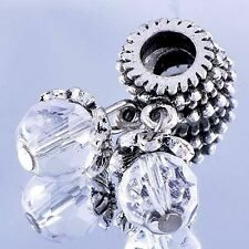 Silver Plated Clear Crystal Charms BEADS Fit European DIY Bracelet Free Shipping
