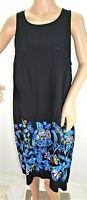 MSK Women Size L Black Blue Floral Casual Work Short Dress Boho