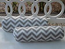 Set of 2 Gray Grey & White Chevron Outdoor Decorative Bolster Neckroll Pillows