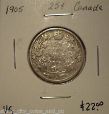 Canada Edward VII 1905 Silver Twenty Five Cents - VG
