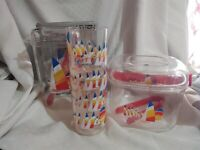 4 Cups Tumblers Insulated Plastic Ice Bucket Pitcher Set Sail Boats VTG Cameleon