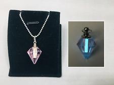 Pink Crystal GLOW in the DARK Aqua Charm Pendant Vial Necklace - Jewel Diamond