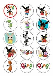 BING X 15 EDIBLE CUPCAKE TOPPERS - PERSONALISED - PRECUT - ICING OR WAFER CARD