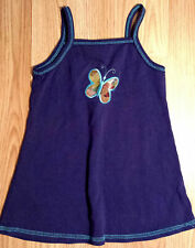 Girl's Size 2 T 2T Blue Knit Small Steps Butterfly Embroiderd Sleeveless Dress