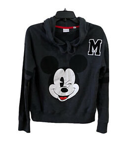 Disney Mickey Mouse Women/Teen Size Large Long Sleeve Hoodie Pullover Black