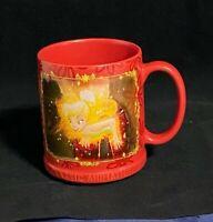 Disney Authentic Tinker Bell Peter Pan Walt Disney Red Ceramic Coffee Mug 12 Oz