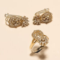Natural Russian White Topaz Ring Earrings 925 sterling Silver Two Tone Jewelry