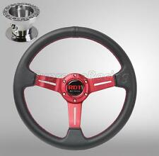 Red Deep Dish Steering Wheel + Hub Adapter For Nissan 240SX 89-98 300ZX 90-96