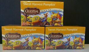 SWEET Harvest Pumpkin Celestial Seasonings Black Tea Lot of 3 Boxes 60 Bags