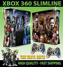 Xbox 360 Slim Aufkleber Horror Montage Evil Villains Hülle & 2 Controller