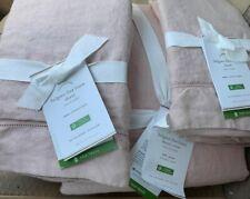 Pottery Barn Belgian Flax Linen FULL/ QUEEN Duvet & 2 EURO Shams, Soft Rose Pink