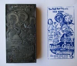 ABBOTT & COSTELLO MEET THE MUMMY 1956 Original printer's ad block Marie Windsor