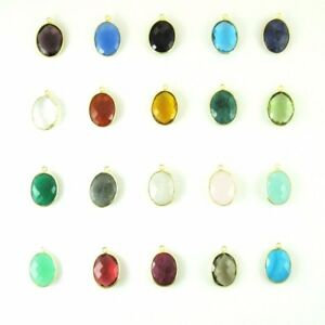 Gemstone Pendant - 14x18mm Faceted Oval Shaped Charm (Sold Per 2 Pcs)