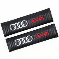 2pcs Carbon Fiber 3D Embroider Car Seat Belt Safety Shoulder Pad Cover For Audi