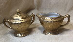 22k Vintage Hand Decorated Weeping Bright Gold Sugar Dish & Creamer Set