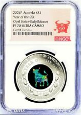 2021 Australia OPAL LUNAR Year of the OX 1 oz Silver Proof Coin NGC PF70 ER