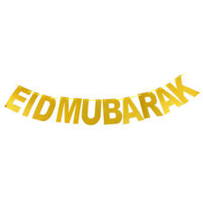 1 Set Gold Eid Mubarak Banner Glitter Paper Garland Eid Party Ramadan Decor Rwty