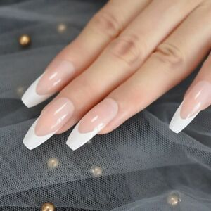 24/1 French Manicure Short / Medium / Long Full Cover False Fake Nails Tips UK