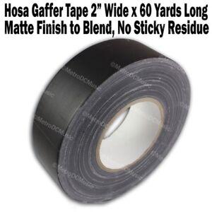 "Hosa Gaffer's Tape 2"" Roll 60 Yards Per Roll Matte Black Gaffers Gaff Ships Free"