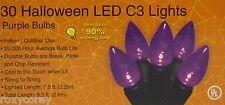 Halloween 30 Purple LED C3 String Lights Lighted Length 7.5 ft Black Wire NIB