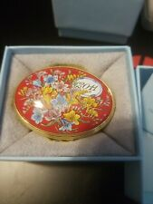 Halcyon Days Enamel Box England red floral 201q new In Box