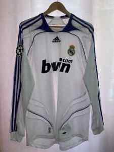 REAL MADRID SPAIN 2007/2008 HOME FOOTBALL SHIRT JERSEY CAMISETA L/S SZ L ADIDAS