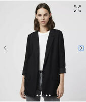 All Saints Aleida Black Open Front  Blazer Jacket Size UK 12