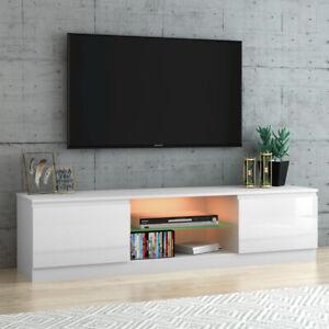 Modern TV Unit Cabinet Stand High Gloss Doors Matt Dody 160cm with LED Lights