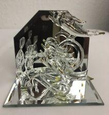 "Glass Dolphins Jumping Mirror Home Decorative Art  Figurine 3-1/2""x 4"" x 2"""