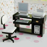 1:12 Puppenhaus Computer Schreibtisch Sessel Tastatur Drucker Computer Ho G Q6J8