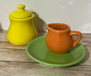 "3 Pieces ~ Schylling Tea Party  ""Fiesta Ware Style"" Orange Yellow Green ~EUC"