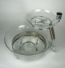 Gailstyn Glass Chip Dip Bowl Set Clear Silver Stand MOD # 171 Gail A Ware USA