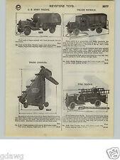 1932 PAPER AD Keystone Toy US Army Police Patrol Dump Truck Packard Shovel