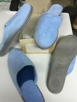Pantoffeln Hausschuhe Gr.37,5 hellblau Kord DDR neu im Karton Uta Schuhe