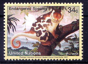 United Nations  2001 MNH, Endangered Wild Animals, Common spotted cuscus