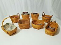 Lot Of 8 Small Mini Longaberger Herb Baskets with Booklets