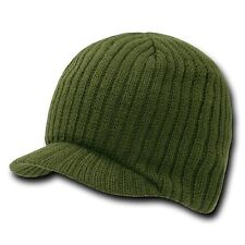 New Green Solid Campus Visor Jeep Skull Knit Ski Winter Beanie Cap Caps Hat Hats