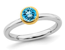1/2 Carat (ctw) Solitaire Blue Topaz Ring in Sterling Silver with Yellow Accents