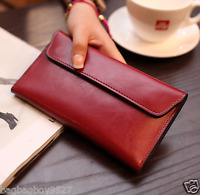 Genuine Leather Women's Slim Purse Long Clutch Wallet Credit Card Pockets